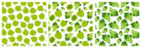 Green fruit seamless pattern set. Fashion design. Apple, grapes and kiwi. Food print for clothes, linens or curtain. Hand drawn. Vector sketch background vector illustration
