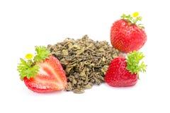 Green fruit tea with strawberries on white Stock Photos