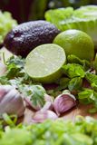 Green fruit and vegetable - wooden board with green food  ingredients: garlic, avocado, lime, mint, cilantro, leek, green chili. Green fruit and vegetable royalty free stock images