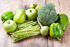 Green fruit and vegetables Stock Images