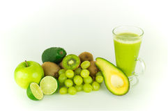Green fruits. A bunch of fresh green fruits in the spotlight stock photo