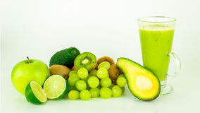Green fruits. A bunch of fresh green fruits in the spotlight stock photos