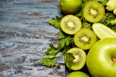 green fruits and vegetables Royalty Free Stock Photos