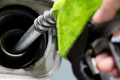 Green fuel nozzle Stock Photos