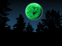 Green Full Moon. Imaginary Green Full Moon Night in the Wood Royalty Free Stock Photos