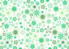 Green funky flowers and leaves retro pattern Stock Photography