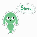 Green funny cartoon rabbit says Sorry Stock Image