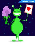Green funny cartoon style alien with sturry sky royalty free stock photo