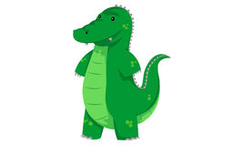 Green funny crocodile. Green crocodile is smiling and looks funny Royalty Free Stock Images
