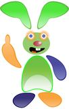 Green funny rabbit. Vector isolated on white Stock Photo