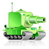 Green funny tank. Green tank with great gun vector illustration