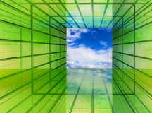 Green is the future. Green perspective imagination hallway window to bright clean future sky Stock Photography