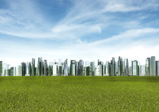 Green Futuristic City. Illustration of futuristic city block with green grass field foreground Royalty Free Stock Images