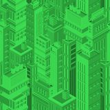 Green futuristic seamless pattern with isometric urban buildings and skyscrapers of modern megalopolis. Background with Royalty Free Stock Image