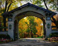 Green Gables Driveway Entrance Gate, Fall Colors. The Green Gables Driveway entrance gate surrounded by beautiful fall colors.  This is located on Snake Road in Royalty Free Stock Images