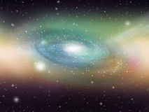 Green Galaxy Sky. Blue Galaxy in Outer Space Filled with Stars