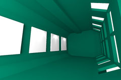 Green Gallery Abstract Interior Stock Images