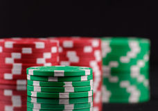 Green Gambling Chips Royalty Free Stock Images
