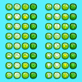 Green game icons buttons icons, interface, ui Stock Photos