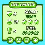 Green game level complete icons buttons. Game green level complete icons buttons ui Royalty Free Stock Photography