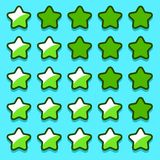 Green game rating stars icons buttons Stock Image