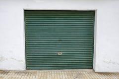 Green garage door Royalty Free Stock Image