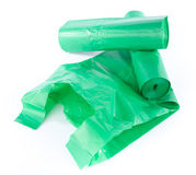 Green garbage bags Royalty Free Stock Images
