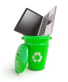Green garbage bin with computer Stock Photos