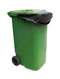Green garbage bin isolated on white with clipping path Royalty Free Stock Images