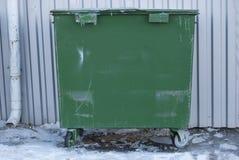 Green garbage bin. Municipal garbage dump. Utilization of domestic garbage Royalty Free Stock Photos