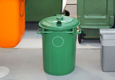 Green Garbage Bin Stock Photo