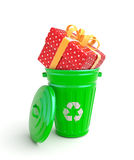 Green garbage bin with present Stock Photography
