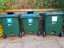 Containers for sorting garbage. Green garbage bins for a clean environment Royalty Free Stock Photography