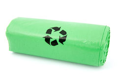 Green garbage bio bags Royalty Free Stock Images
