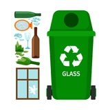 Green garbage can with glass. Garbage elements, vector illustration Royalty Free Stock Photography