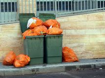 Green garbage cans Royalty Free Stock Image