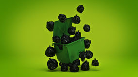Green garbage containers. 3d rendering Royalty Free Stock Image