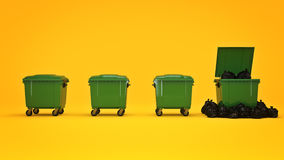 Green garbage containers. 3d rendering Stock Photo
