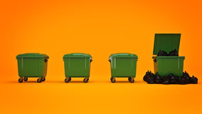 Green garbage containers. Stock Image