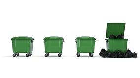Green garbage containers. 3d rendering Stock Images