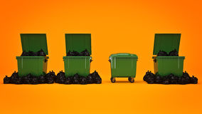 Green garbage containers. Royalty Free Stock Photo