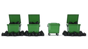 Green garbage containers. 3d rendering Stock Photography