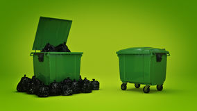 Green garbage containers. 3d rendering Royalty Free Stock Photos