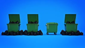 Green garbage containers. Stock Photo