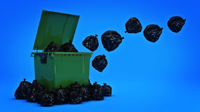 Green garbage containers. Stock Photos