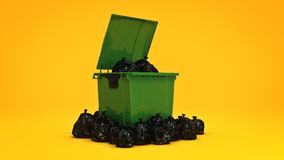 Green garbage containers. Royalty Free Stock Image