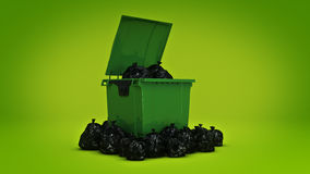 Green garbage containers. 3d rendering Royalty Free Stock Images