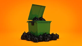 Green garbage containers. 3d rendering Royalty Free Stock Photo