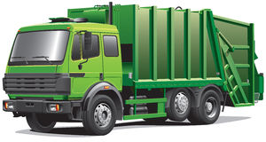 Green garbage truck Royalty Free Stock Photography