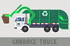 Garbage Truck. Green Garbage Truck in Flat Style Stock Image